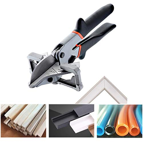 Extere Multi-Function Tube Pipe Metallic+Plastic Handyman Easy Shears Multi-Angle Anvil Window for Cutting Chamfer, Shoe Moulding, Trunking and Wood Parts for Carpet (Black)