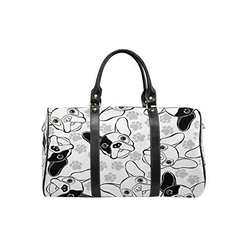 InterestPrint Travel Bag Duffel, Large Lightweight Weekender Overnight Bag French Bulldog and Paw