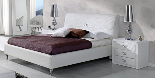 ESF Emily 887 Pure White Eco Leather Queen Platform Bed Made in Spain