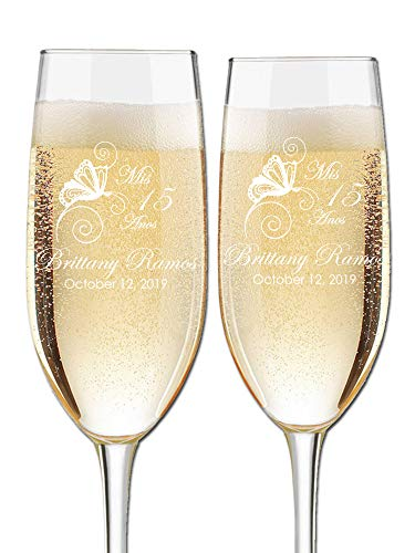 Custom Engraved Quinceanera Cotillion or Debutante Champagne Flutes - Butterfly Design - Choose Set of 2 or 16 - Laser Engraved with Name and Date (Set of 2)