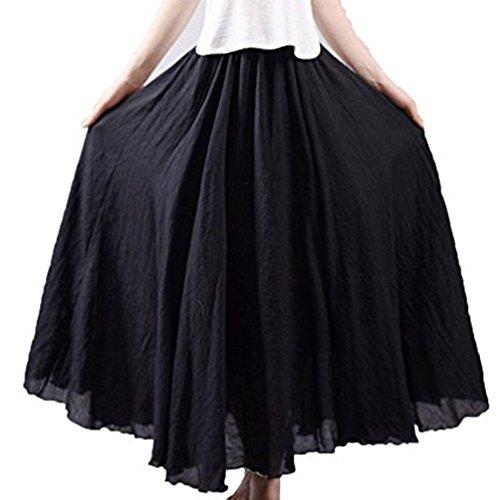 Chic Casual en A Longue Elastique Taille Ligne Haute Maxi Femmes Elgante Lin Jupe Plisse Noir Jupe Tomwell Taille OpYfnwtxqW