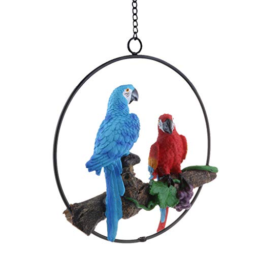Flameer Resin Lifelike Bird Ornament Figurine Parrot Model Garden Statue Iron Ring - A