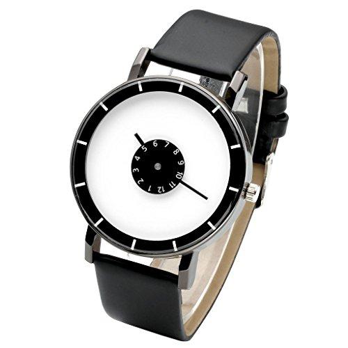 Top Plaza Unisex Fashion Classic PU Leather Band Watch Arabic Numeral Simple Analog Quartz Wrist Watch-Black
