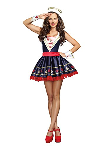 Dreamgirl Women's Shore Thing Sailor Costume, Navy, Small