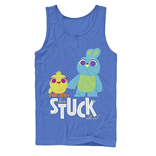 Toy Story Men's 4 Ducky & Bunny Stuck with Us Royal Blue Tank Top