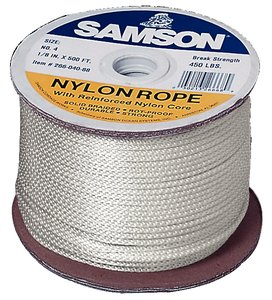 Samson Rope  019024005030 Solid Braid Nylon Cord in Spool,  #12, 3/8'' Diameter, 500' Length, 2500 lbs Strength, 375 lbs Working Load Limit (Pack of 500)