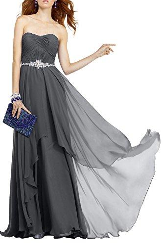 Abschlussballkleider La Grau Promkleider Brautjungfernkleider Abendkleider Elegant Dunkel Jugendweihe Langes Brau mia Chiffon Kleider qqwrzU