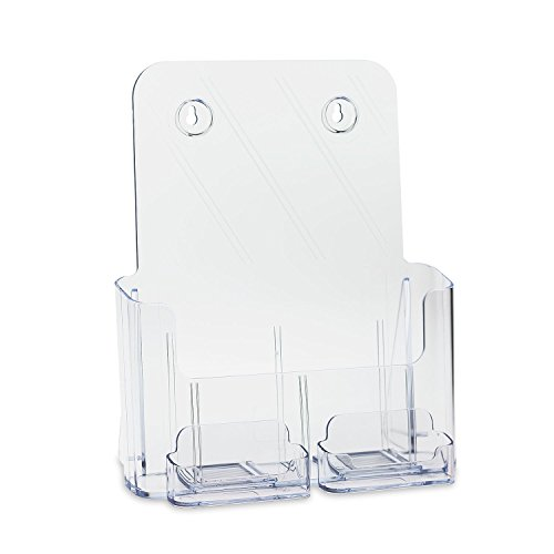 Source One Deluxe Full Size 8.5 x 11 Inches Wall Mount or Counter Top Brochure Holder With 2 Gift / Business Card Holders (All Clear )