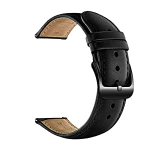 20mm Watch Band, 22mm Watch Band, LEUNGLIK Quick Release Leather Watch Bands with Black/Brown/Gray Stainless Pins Clasp (16mm, 16mm-Black)