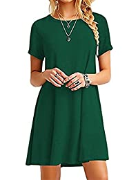 Women's Casual Short Sleeve Multicolor Loose T-Shirt Dress XS-4XL