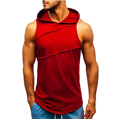 LEXUPA Men Hooded Striped Splicing Vest Jacket Patchwork Sleeveless Contrast Hoodie Red