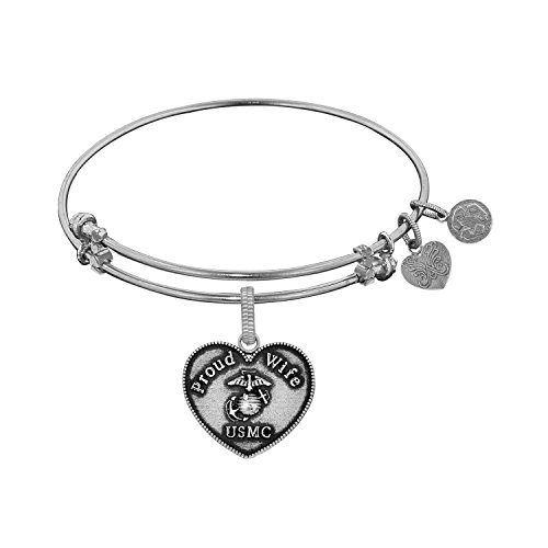 Angelica Collection White Proud Wife U.S. MARINE CORPS Heart Shaped Bangle Bracelet -  Royal Chain