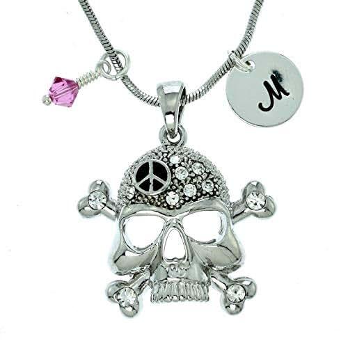 Sparkling Crystal Block Ring Chandelier: Amazon.com: Personalized Crossbones Skull Peace Pendant