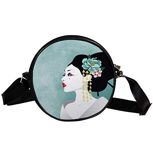 KEAKIA Japanese Geisha Round Crossbody Bag Shoulder Sling Bag Handbag Purse Satchel Shoulder Bag for Kids ()