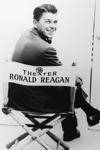 Ronald Reagan in Director's Chair Rare B&w 11x17 Mini Poster General Electric Theater from Silverscreen