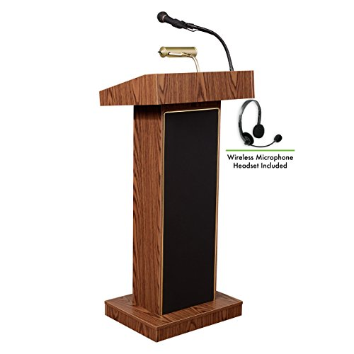 (Oklahoma Sound 800X-MO/LWM-7 Orator Lectern & Headset Mic, Medium Oak )