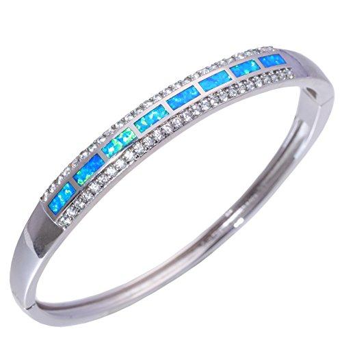 Blue Created Opal Inlay Bracelet - CiNily Created Blue Fire Opal CZ Rhodium Plated Women Jewelry Fashion Adjust Cuff Bangle Bracelet