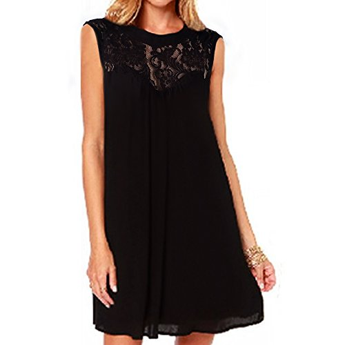 Vanberfia Casual Lace O Neck Loose Mini Chiffon Dress (S, 2201)