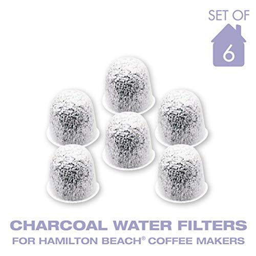 Charcoal Water Coffee Filter Cartridges, Replaces Hamilton Beach Water Coffee Filters- Set of 6 (Hamilton Beach Coffee Maker Water Filter Replacement)