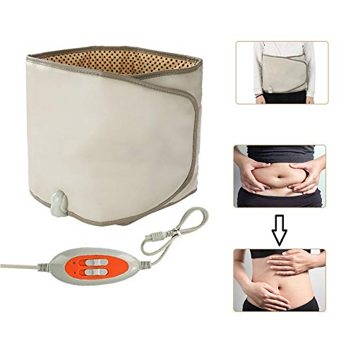 Slimming Belt with Hot Compress & Vibrating Massage Function Weight Losing Health Care Tools Heating Massager Fitness Device(Brown) (Best Exercise Machine To Lose Stomach Fat)