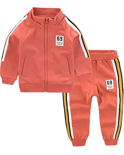 Kids Two Piece Long Sleeve Zip Jacket & Pant Outfit Set, Active Sweatsuit Track Suit Clothes Set with Side Stripes for Toddler & Little Boys Girls, Orange, Age 4T - 5T ( 4-5 Years ) = Tag 120 (Holiday Womens Jacket)