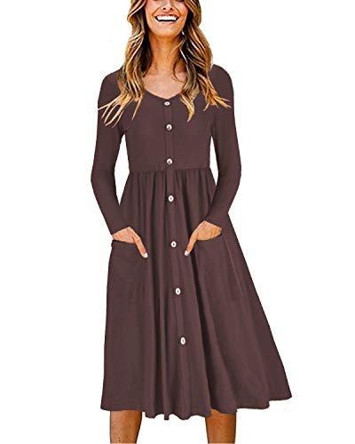 OUGES Women's Long Sleeve V Neck Button Down Skater Dress with Pockets(Coffee325,L)