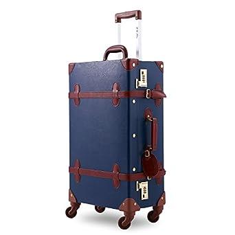 Amazon.com   Unitravel Vintage Suitcase PU Leather Luggage with ...