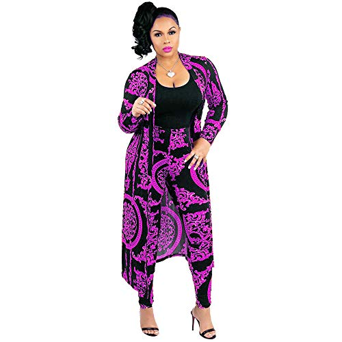 Nice2co Women 2 Piece Outfits Floral Long Sleeves Open Front Cardigan Cover up with Leggings High Waist Long Pants Set (Purple, L)