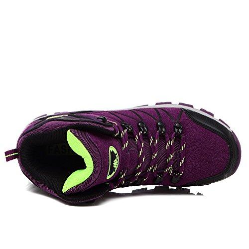 Enllerviid Donna Uomo Escursionismo Stivaletti Outdoor Trekking Sneakers Scarpe Da Passeggio 8670 Viola