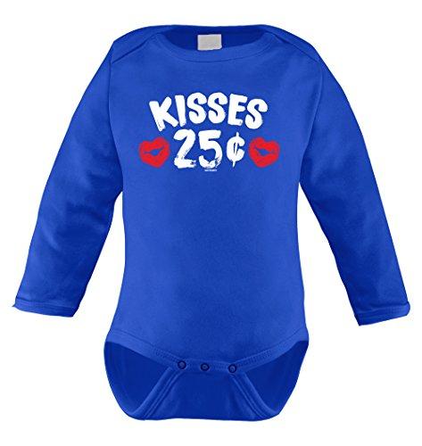 Kisses 25 Cents Infant Long Sleeve Bodysuit (Royal Blue, 18 Months)