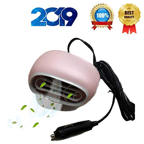 Shenlin Portable Car Heater, Fast Heating Car Heaters Plug in Cigarette Lighter Defrost Defogger 360 Degree Rotate Adjustable – 12V 150W Auto Heater Windshield Defogger Defroster (Pink)