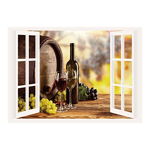 SCOCICI Window Mural Wall Sticker/Wine,Red and White Wine Bottle Glass on Wooden Keg Quality Taste Traditional Decorative,Brown Light Green Yellow/Wall Sticker Mural ()