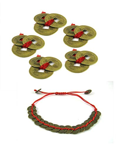 Odishabazaar feng Shui Set of 15 Lucky Coins+17 Coins Bracelet for Wealth and Achievement + Free Rudraksha Bracelet Combo of 3