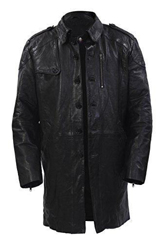Infinity- Männer lange Militär Weiche Distressed Black Leather Trench Coat