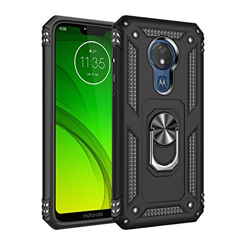 Motorola G7 Power Case Cover,Moto G7 Power Case,Tough Heavy Protective 360 Metal Rotating Ring Kickstand Holder Grip Built-in Magnetic Metal Plate Armor Heavy Duty Shockproof ()