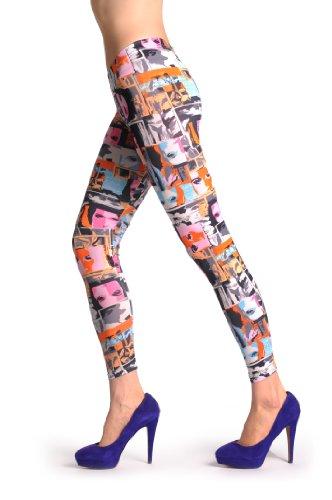 Pink & Blue Portraits - Multicolore Leggings Taille Unique (32-38)