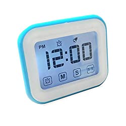Womdee Timer Digital Alarm Clock, LCD Touchscreen Magnetic Backing Come with Night Light 2 Modes Mute/Ring, Blue