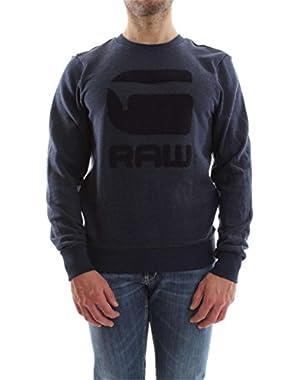 G-Star Men's Yster R Texture Graphic Sweatshirt, Blue