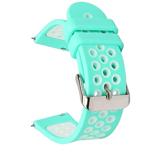 Universal 18mm 20mm 22mm 24mm Width Silicone Watch Band Replacement (20mm, Teal-White)