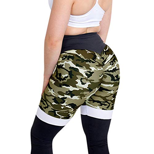 (Pongfunsy Women Workout Leggings Women's Fashion Camouflage High Waist Pleated Sports Patchwork Running Athletic Pants (M, Green))