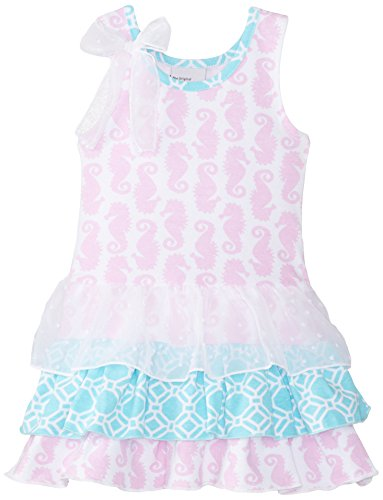 Flap Happy Baby Girls' Tessa Triple Ruffle Dress, Seahorse Parade, 24 Months (Clothing Happy Childrens Flap)