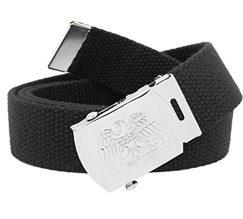 (Men's Military Silver Eagle and Sword Slider Buckle with Canvas Web Belt Large Black)