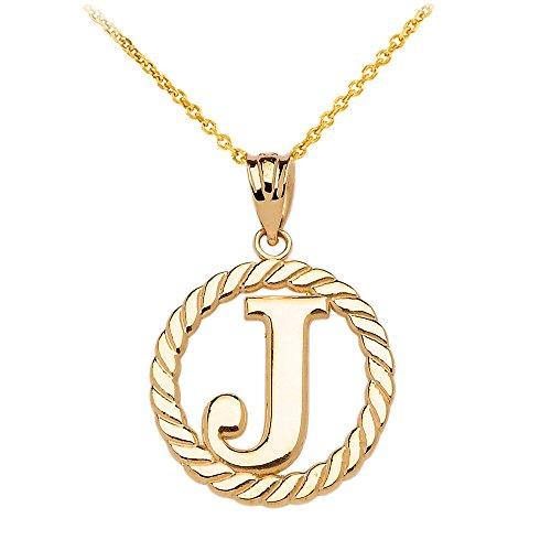 """Collier Femme Pendentif 14 Ct Or Jaune """"J"""" Initiale À Corde Cercle (Livré avec une 45cm Chaîne)"""