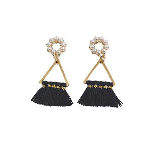 CATCHICY Chic Short Tassel Pearl Earrings Triangle Fan-Shaped Alloy Fancy and Chic Daily Outfit (Black)