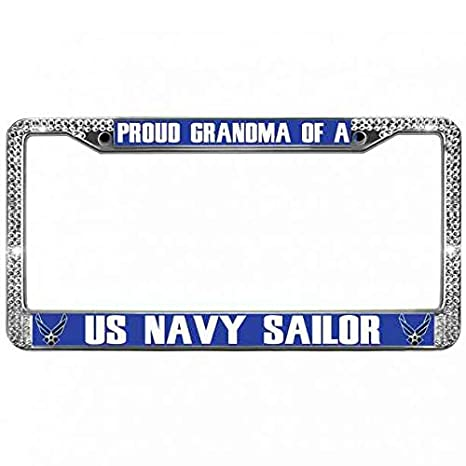 PROUD TO BE AN AMERICAN Heavy Duty Blue License Plate Frame Tag Holder