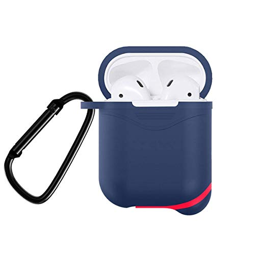 SinoZeal Protective Case Cover for Airpods, Snug Fit Shock Drop Proof Durable Silicone Skin Sleeve with Anti-Lost Carabiner Clip for Apple AirPods Charging Case, Headphone Accessories (Dark Blue)