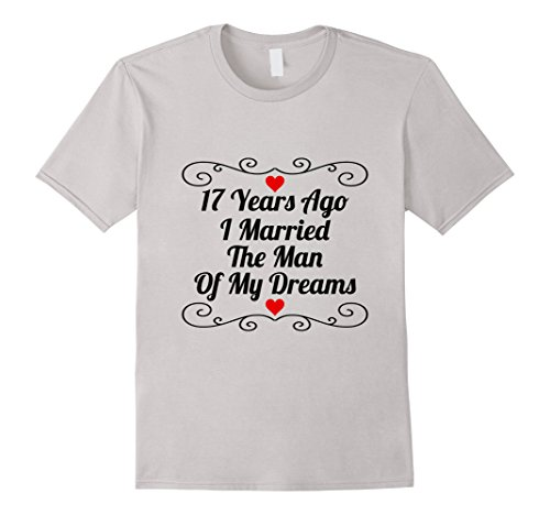 Mens 17th Wedding Anniversary Gift 17 Years T-Shirt Husband Wife Medium Silver