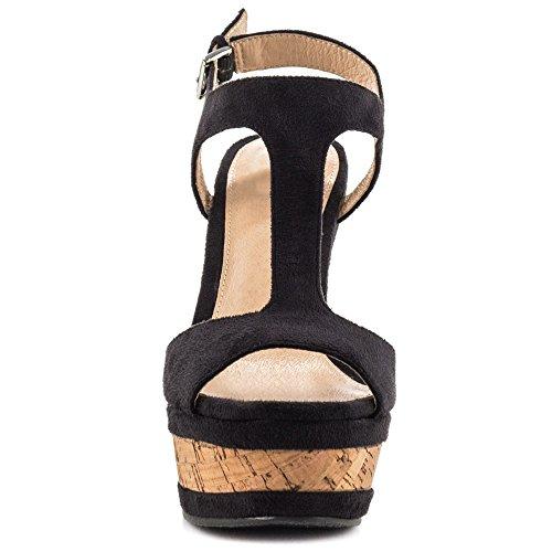 Merumote Donne Incunea Sandali Alta Piattaforma Scarpe Cinghia Tacco Caviglia Nero