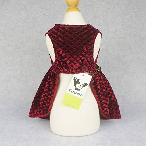 08f2371b758e Fitwarm Christmas Dog Dresses for Pet Clothes Cat Vest Dresses Apparel  Lightweight Velvet Red Medium