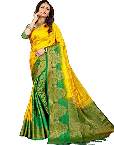 (Mohit Creations Pure Silk Traditional South Indian Saree with Unstitched Blouse (Yellow))